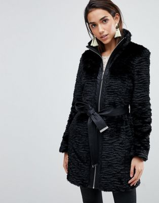 Lipsy Faux Fur Coat with Belt and Zip Front