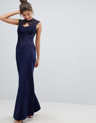 Lipsy Fishtail Maxi Dress With Lace Back Detail