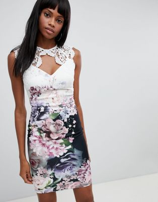 Lipsy Floral Bodycon Dress With Lace Upper