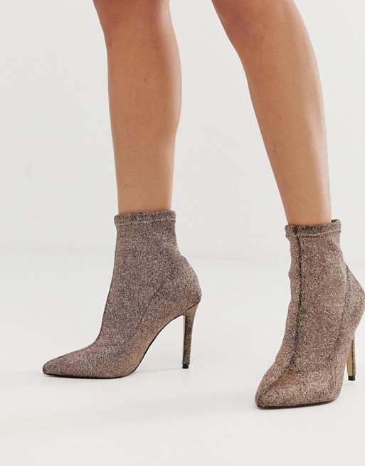 Lipsy glitter sock boot in gold