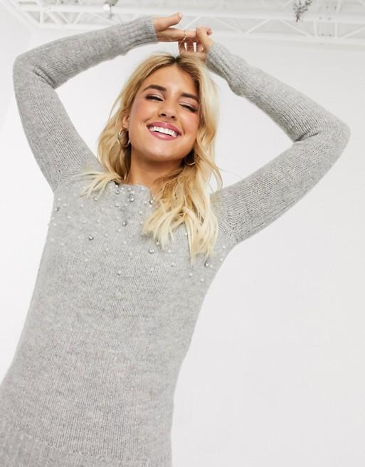 Lipsy – Grauer Pullover mit Perlenverzierung