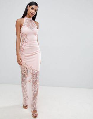 Image 1 of Lipsy high neck lace maxi dress