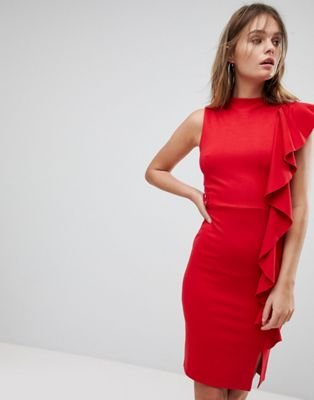 Lipsy High Neck Pencil Dress With Ruffle Side