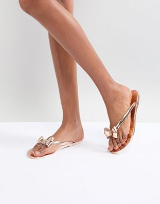 Lipsy Jelly Flat Sandal With Bow Detail