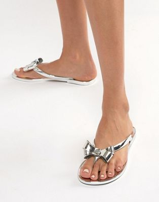 Lipsy Jelly Sandal With Bow In Metallic