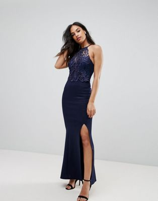 Lipsy Lace Detail Fishtail Maxi Dress