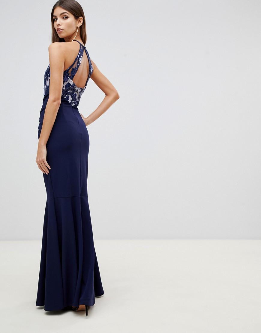 Lipsy lace detail maxi dress in navy - Lipsy online sale