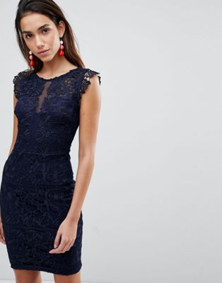 Lipsy Lace Dress With Frill Sleeve