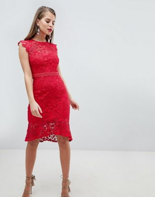 Lipsy Lace Flippy Hem Midi Dress