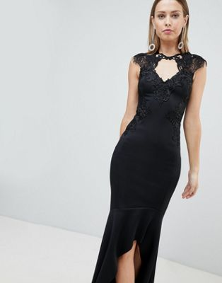 Lipsy Maxi Dress With Lace Trim And High Low Skirt