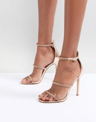 Image 1 of Lipsy Metallic 3 Strap Barely There Shoes