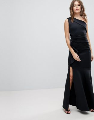 Lipsy One Shoulder Maxi Dress With Ruffle Detail