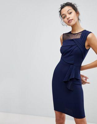 Image 1 of Lipsy Origami Pleat Detail Midi Dress