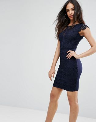 Lipsy Pencil Dress In Crochet Lace