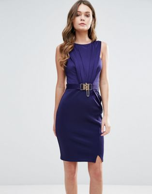 Lipsy Pencil Dress With Buckle Detail