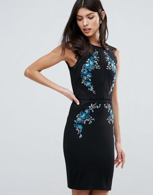 Lipsy Pencil Dress With Floral Embrodiery & Lace Detail