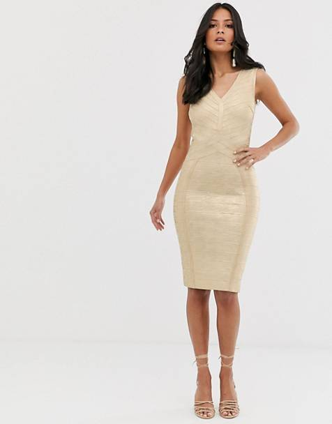 16b1c0ca0003 Lipsy plunge front bandage midi dress in gold
