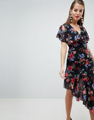 Lipsy Printed Asymmetric Hem Dress