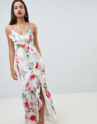Lipsy printed wrap frill cami maxi dress