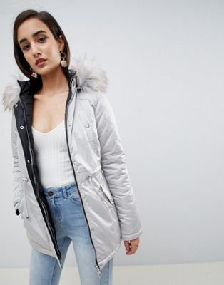 Lipsy Reversible Parka with Faux Fur