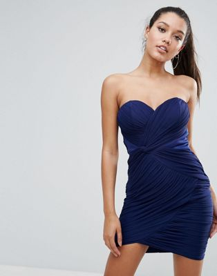 Lipsy Ruched Bandeau Mini Dress