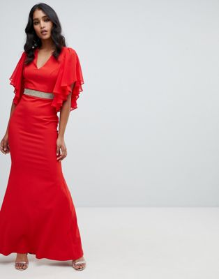 Lipsy ruffle sleeve maxi dress with embellished waist in red