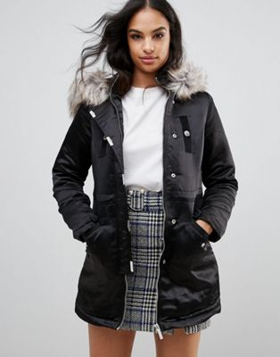 Lipsy Satin Parka With Velvet Trim And Faux Fur Hood