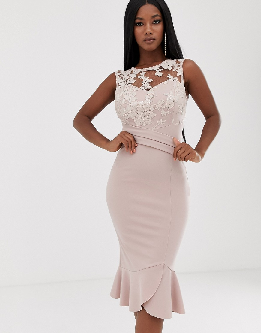 lipsy sequin detail midi dress with flippy hem in soft pink