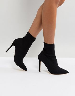 Lipsy Stretch Knitted Sock Ankle Boot