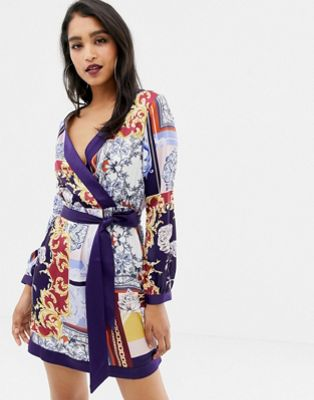 Image 1 of Lipsy tie waist satin dress in scarf print