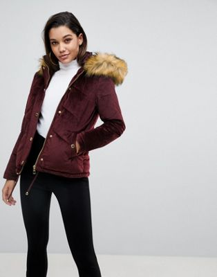 Lipsy Velvet Puffer Jacket With Faux Fur Hood And Gold Trims