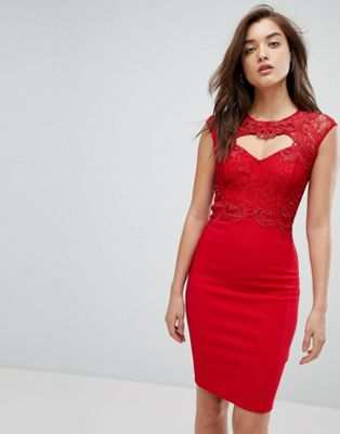 Lipsy Waxed Lace Bodycon Midi Dress