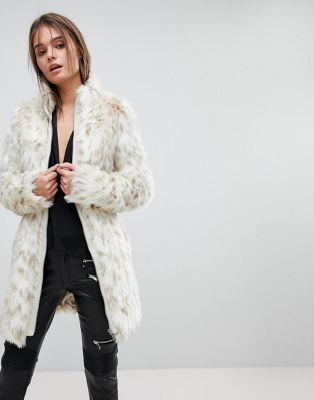 Lipsy White Leopard Faux Fur Coat