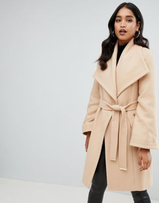 Lipsy wrap coat in camel
