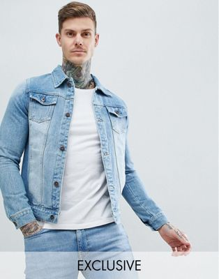 Liquor N Poker denim jacket classic trucker stonewash