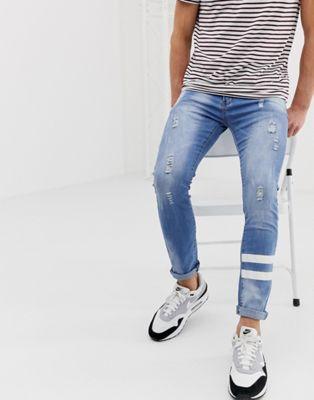 Liquor N Poker – Enge Jeans mit gemalten Streifen