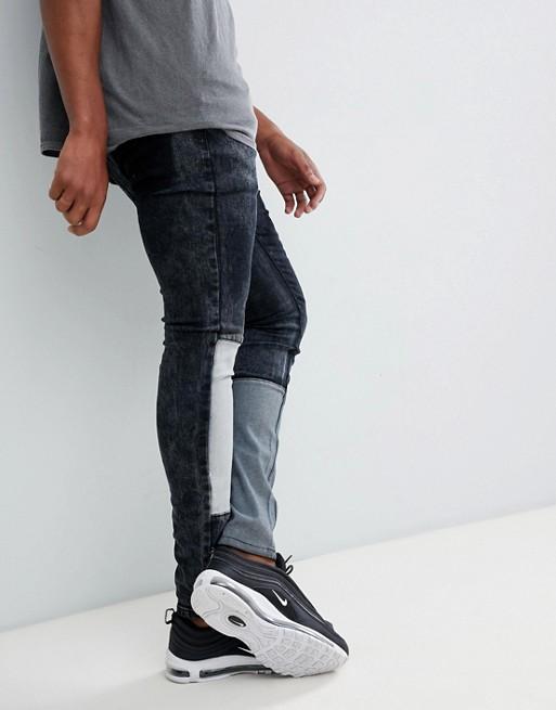 Liquor N Poker – Enge Jeans mit Patchwork-Details