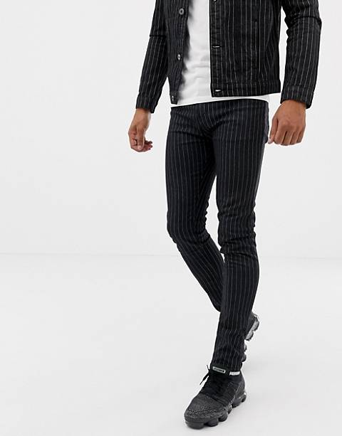 Liquor N Poker jeans with pinstripe in black