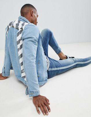 Liquor N Poker – Jeansjacke mit monochromen Streifen