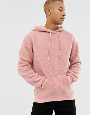 Liquor N Poker oversized borg hoodie in dusty pink
