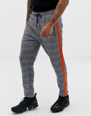 Liquor N Poker pants with heritage print and side stripe in gray
