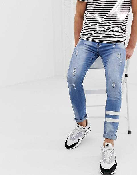 Liquor N Poker skinny jean with paint stripes