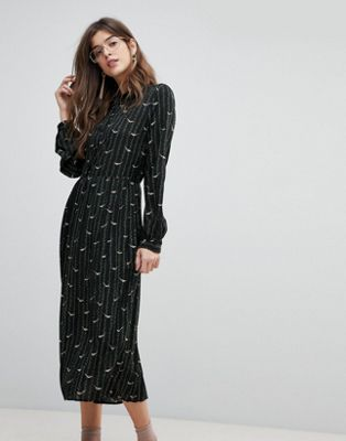 Liquorish Bird Print Pleated Shirt Midi Dress