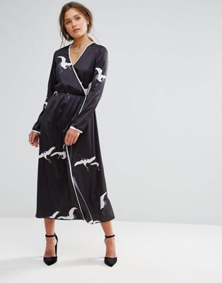 Liquorish Bird Print Wrap Maxi Dress