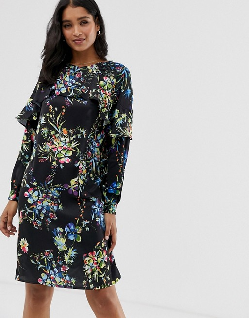 Liquorish – Blommig kort shiftklänning med volang