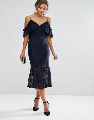 Liquorish Cold Shoulder Lace Midi Dress