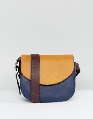 Liquorish Crescent Across Body Bag With Contrast Flap