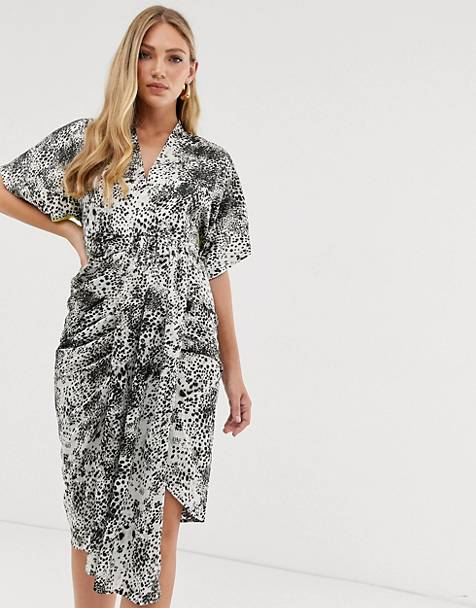Liquorish drape front midi dress in animal mix print