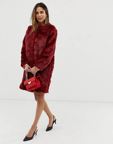 Liquorish faux fur longline coat
