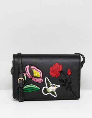 Liquorish Floral Embroidered Across Body Bag
